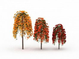 Rose trees three colors 3d model preview