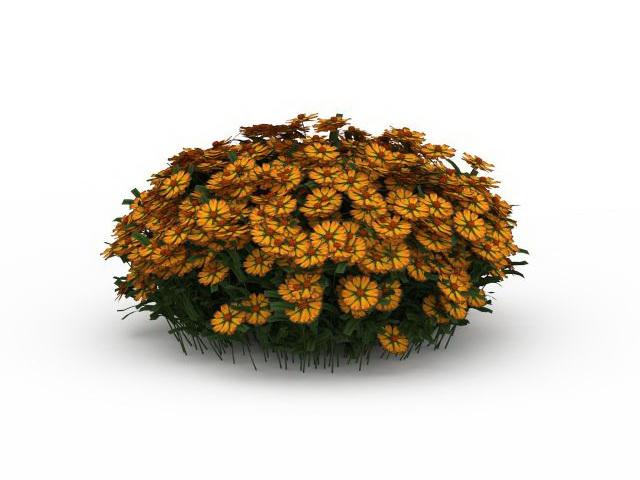 Orange flowers bushes 3d rendering