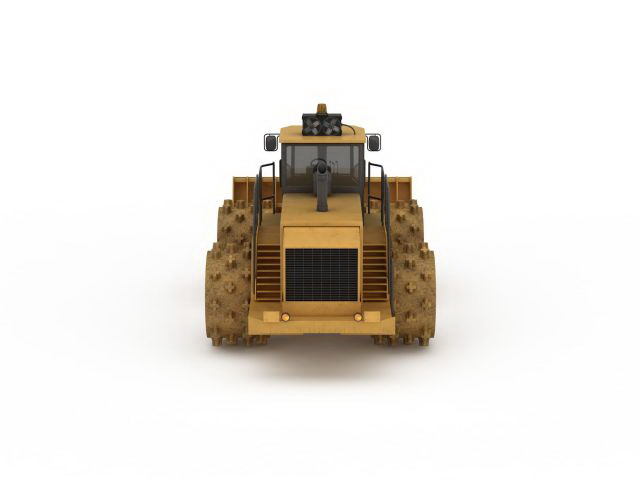 Wheel compactor bulldozer 3d rendering