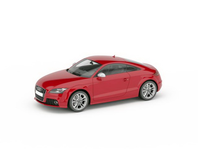 Audi Coupe red 3d rendering