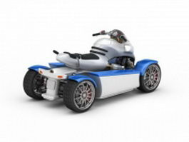 4 Wheel electric scooter 3d preview