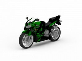 Green sport motorcycle 3d preview
