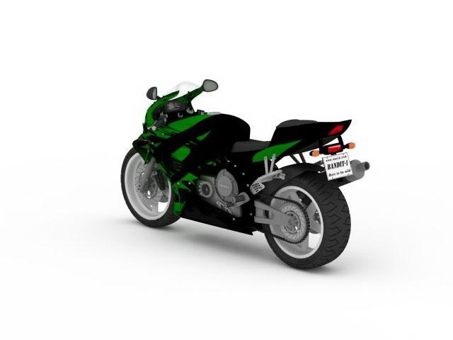 Green sport motorcycle 3d rendering