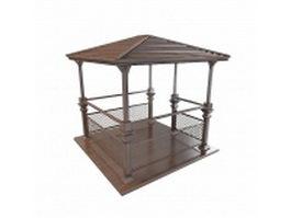 Wooden gazebo 3d model preview