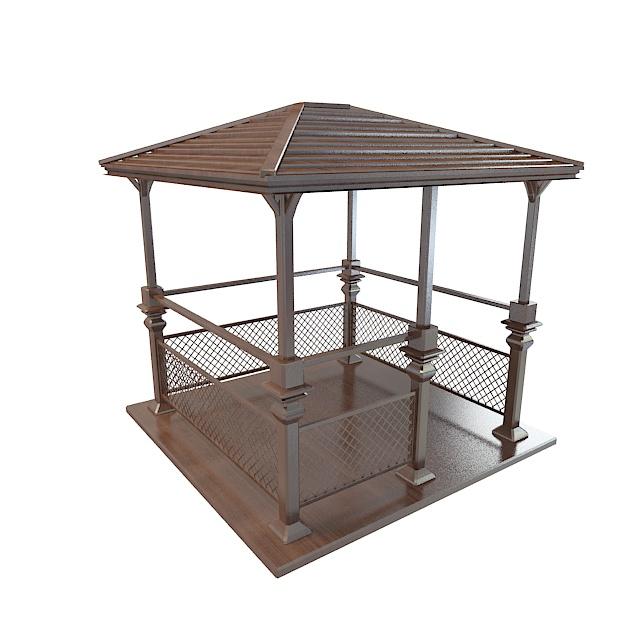 Wooden gazebo 3d rendering