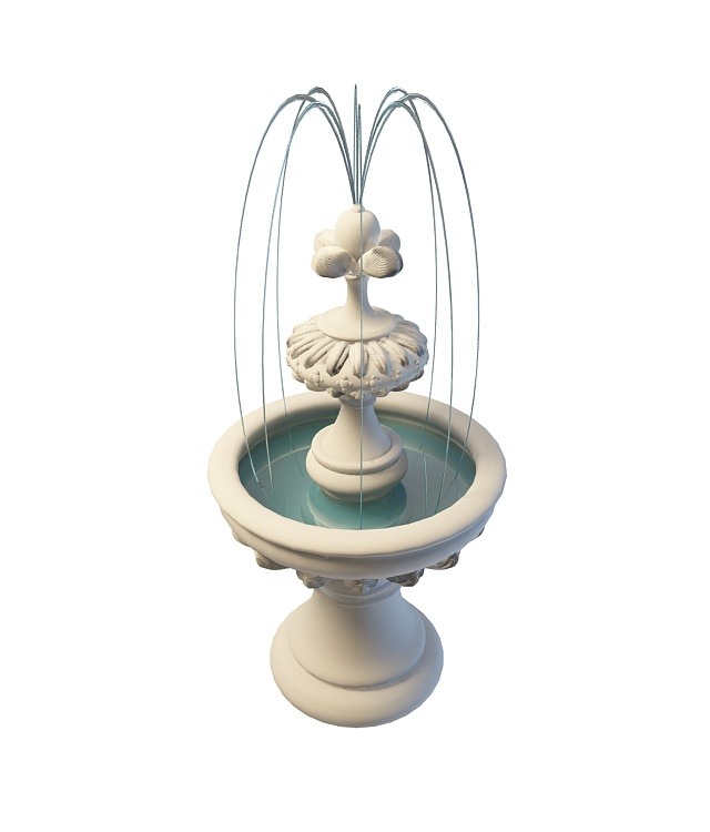 Small garden fountain 3d rendering