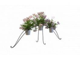 Plant stand and pots 3d preview