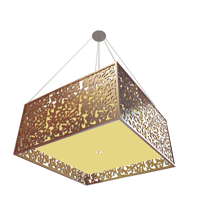 Square pendant light fixture 3d rendering
