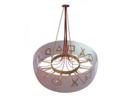 Drum shade chandelier 3d model preview
