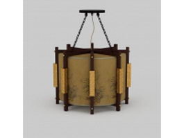 Chinese antique wooden pendant lighting 3d preview
