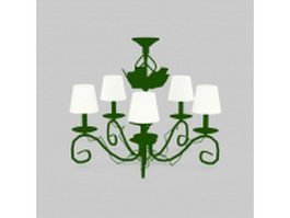 Green chandeliers 3d model preview