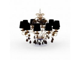 Vintage brass and crystal chandelier 3d model preview