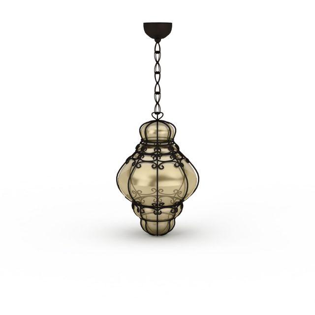 Antique pendant lighting 3d rendering