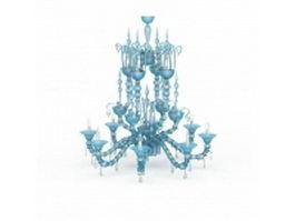Blue crystal chandelier 3d model preview