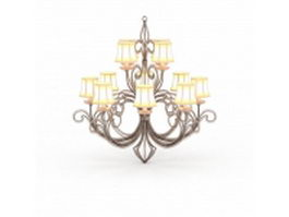 Bronze chandelier with shades 3d model preview