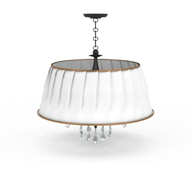 White pendant light with drop 3d rendering