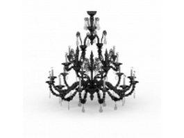 Black chandelier candle lights 3d model preview