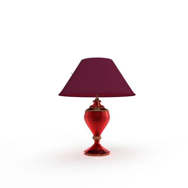 Red glass table lamp 3d rendering