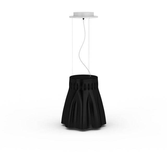 Black fabric pendant light 3d rendering