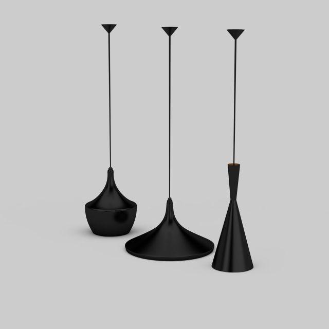 Black hanging lamps 3d rendering