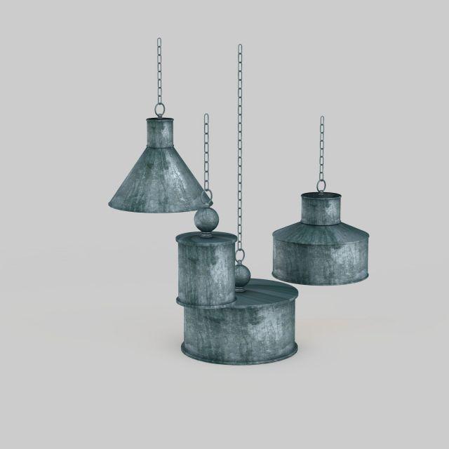 Vintage metal hanging lamps 3d rendering
