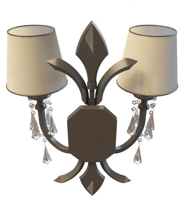 Bronze wall sconce 3d rendering