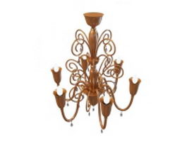 Neoclassical brass chandelier 3d preview