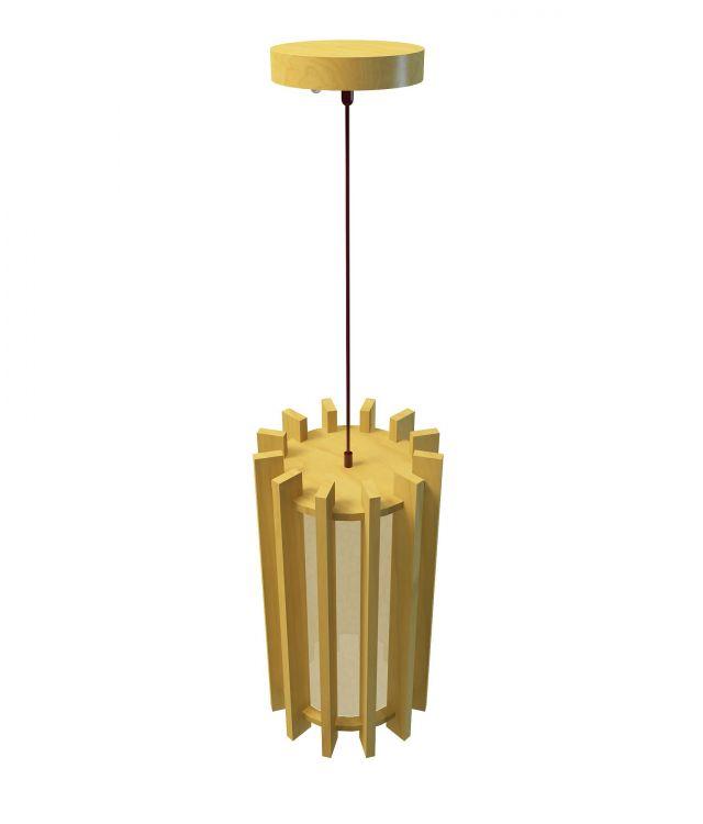 Wood pendant lamp 3d rendering