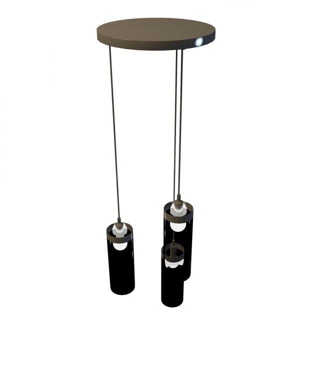 3 Light hanging fixture 3d rendering