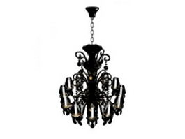 Antique bronze chandelier with candles 3d model preview