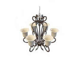 Neoclassical style chandelier 3d model preview