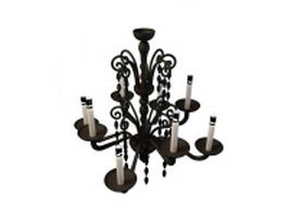 8-Light wrought iron chandelier 3d model preview