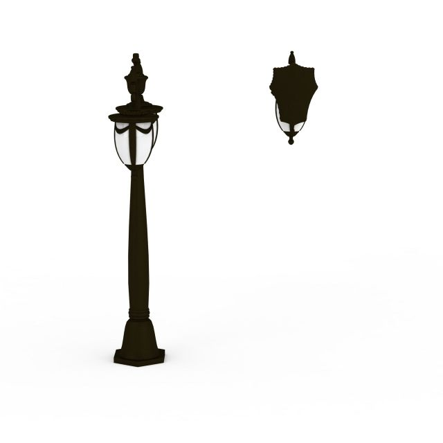 Wrought iron street lamp and wall lamp 3d rendering