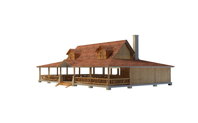 Farm house with terrace 3d rendering