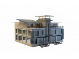 Townhouse architecture 3d model preview