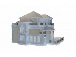 Villa building 3d model preview