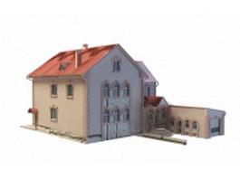 Vintage villa building 3d model preview
