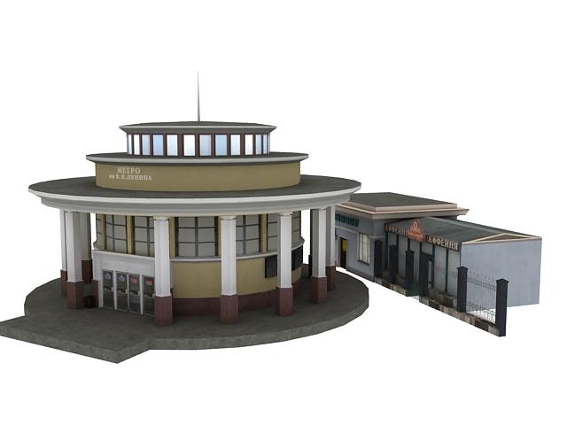 Metro station building 3d rendering