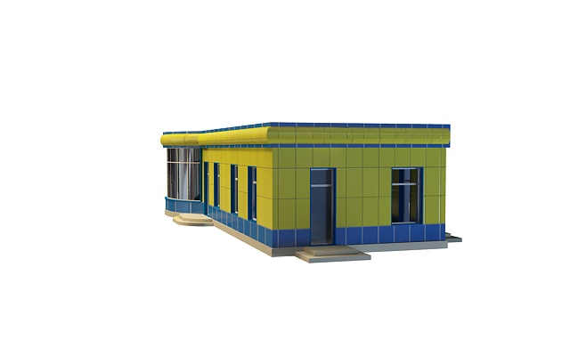 Station waiting room building 3d rendering