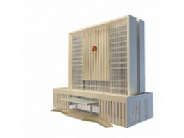 Police department building 3d model preview