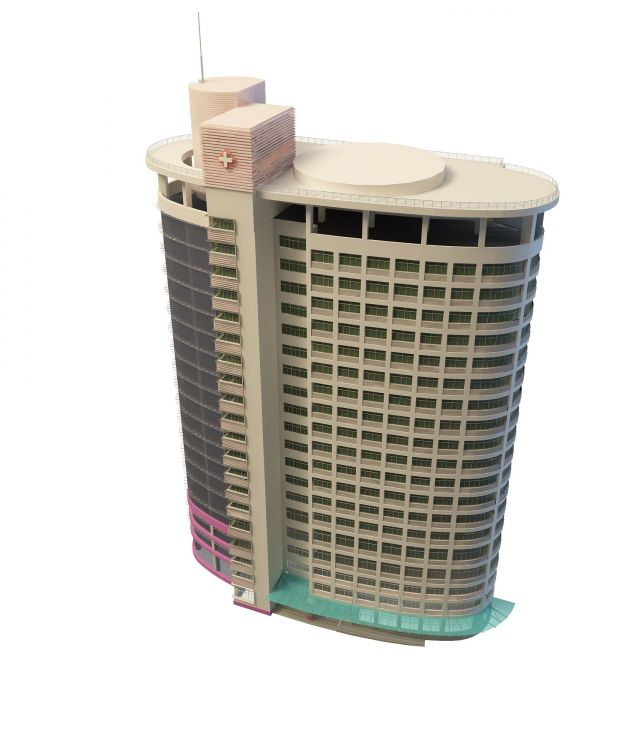Modern hospital building 3d rendering