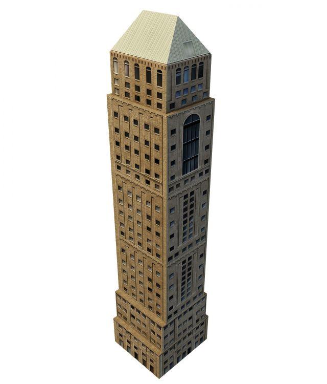Old skyscraper 3d rendering