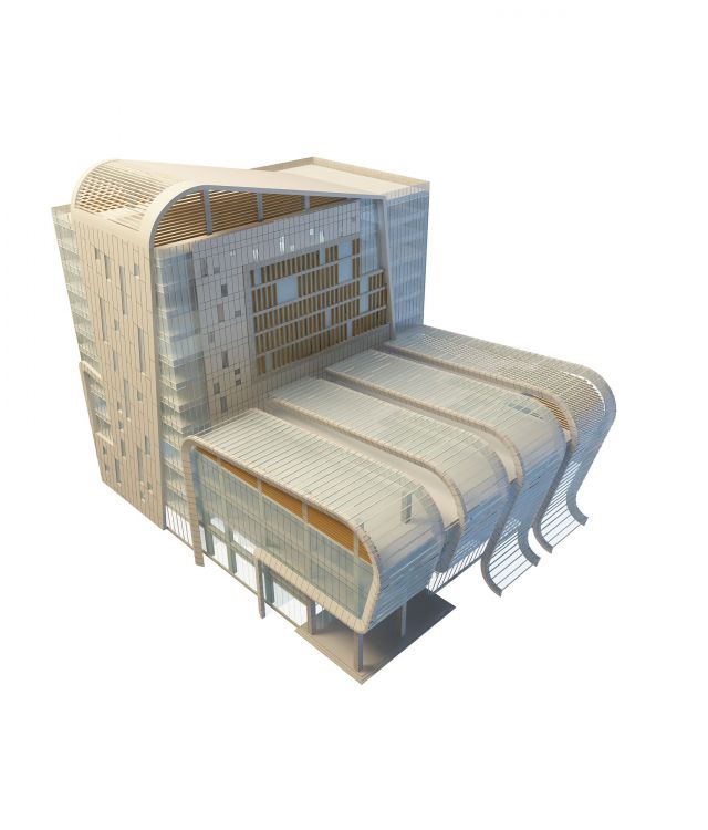 Modern hotel building 3d rendering