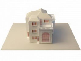 House villa residence building 3d model preview