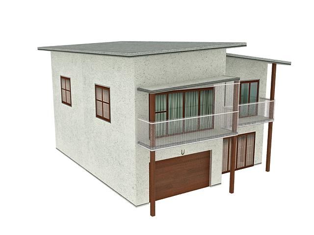 Semi detached stilt bungalow 3d rendering