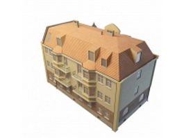 Terraced house 3d model preview