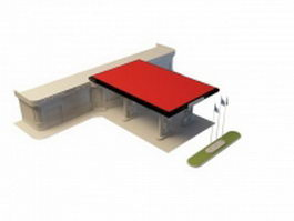 Gas station building 3d preview