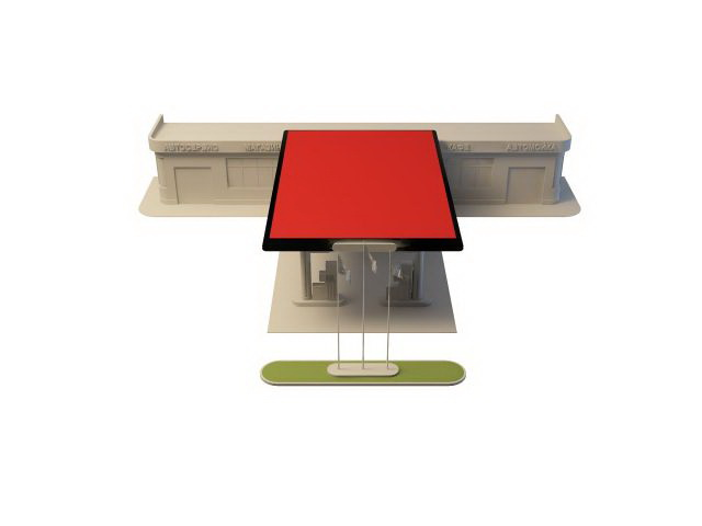 Gas station building 3d rendering