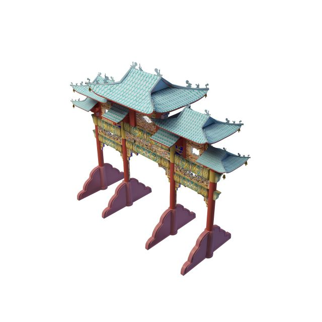 Chinese archway 3d rendering