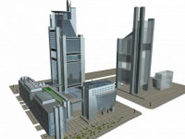 Urban complex architecture 3d preview